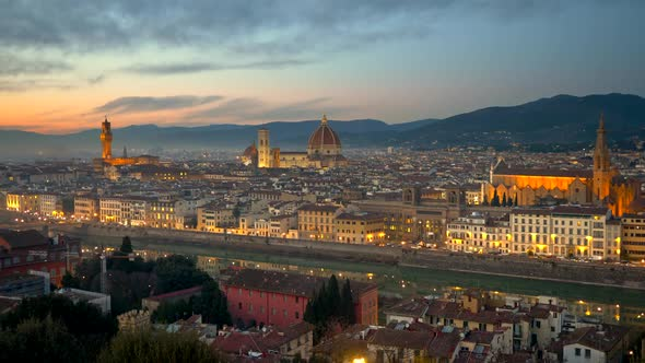 Florence After Sunset, Italy. Night View of Illuminated Florence Old City Center with Sunset Sky