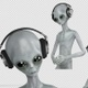 Alien in Headphones Listening to Music - VideoHive Item for Sale