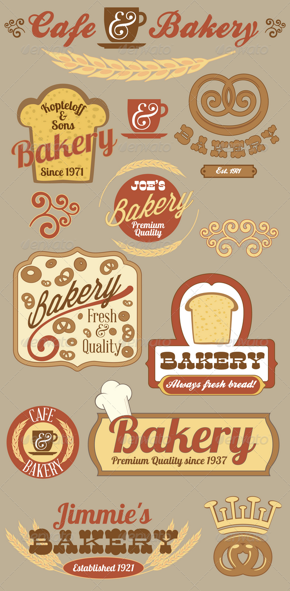 Bakery Logo Badges and Labels Set - Decorative Vectors