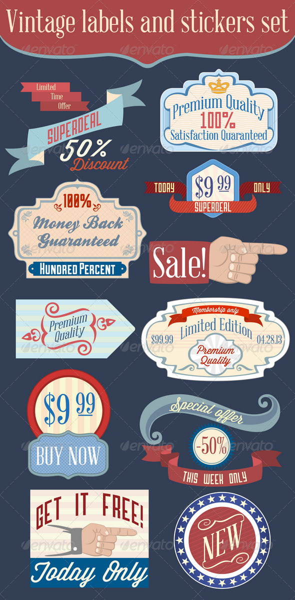 Vintage Labels and Stickers Set - Web Elements Vectors