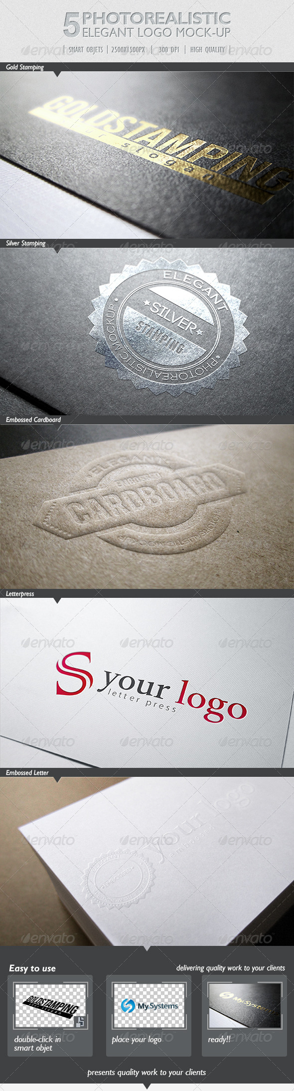 5 Photorealistic Logo Mock-Up | Pack 1 - Print Product Mock-Ups