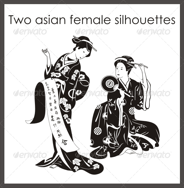 Two Asian Female Silhouettes - People Characters