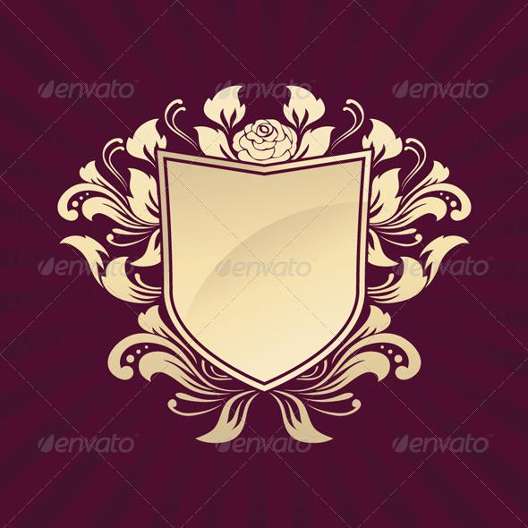 Shield Ornament Rose - Decorative Symbols Decorative