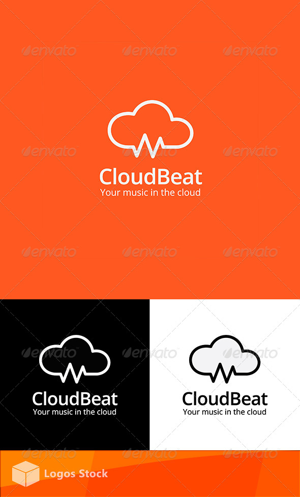 Tech & Audio Logo - Cloud Beat - Vector Abstract
