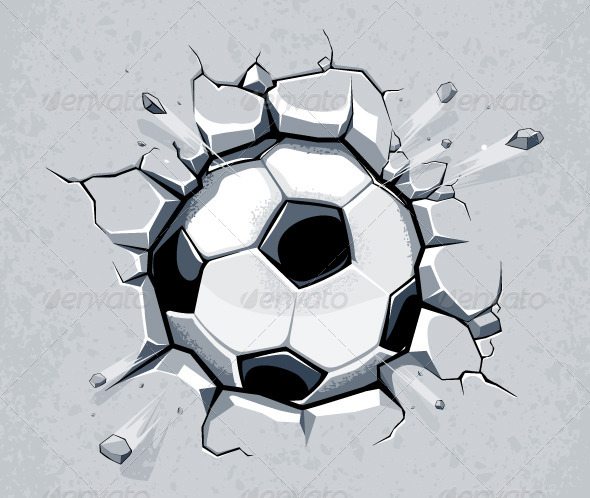 Soccer Ball Breaking the Wall - Vectors