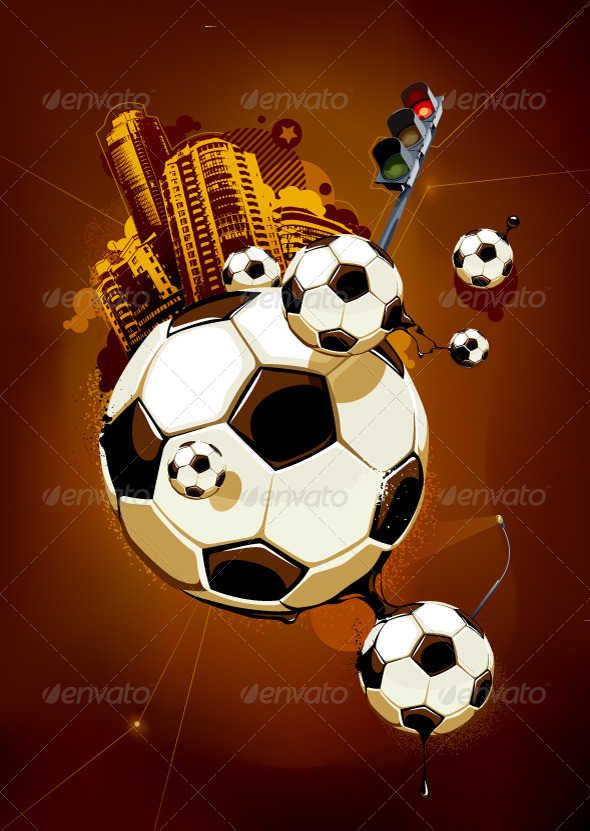 Abstract Image of Soccer Balls - Vectors