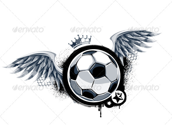 Grunge Image with Soccer Ball - Vectors