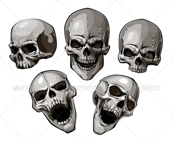 Set of skulls - Vectors
