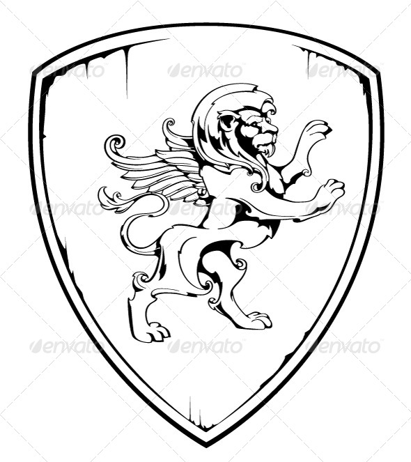 Vintage lion on shield - Vectors