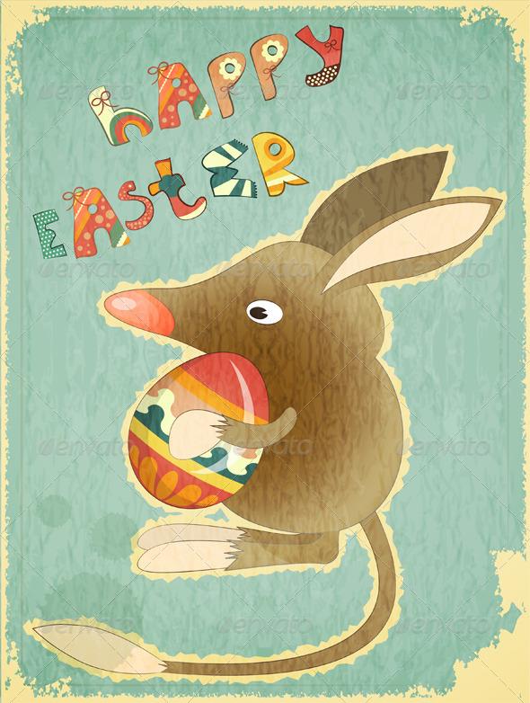 Retro Vintage Card with Easter Australian Bilby - Seasons/Holidays Conceptual