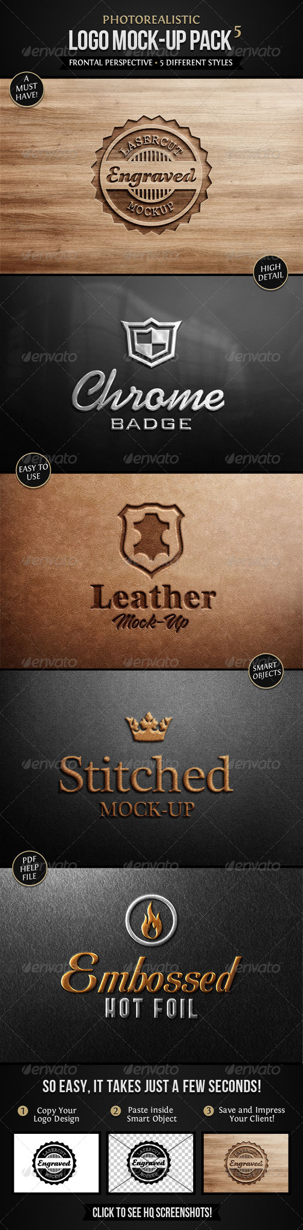 Photorealistic Logo Mock-Up Pack 5 - Print Product Mock-Ups