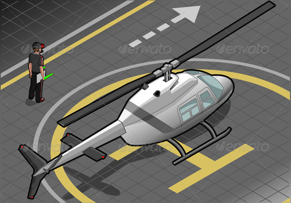 Isometric White Helicopter Landed - Objects Vectors