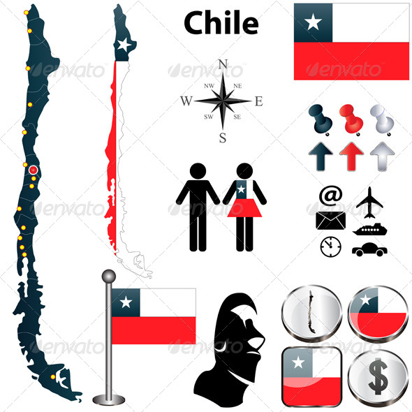 Map of Chile - Travel Conceptual