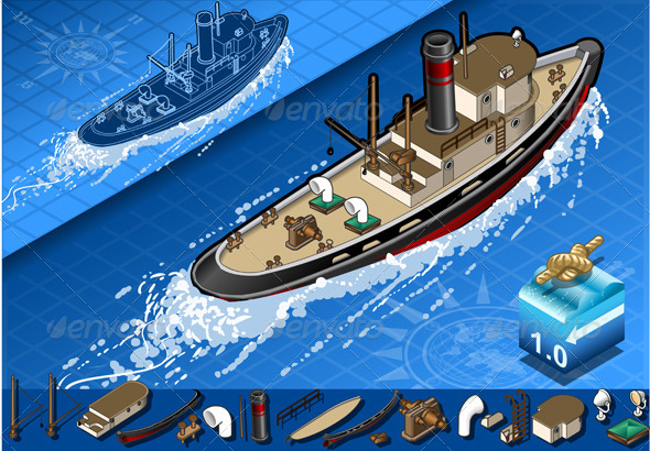 Isometric Old Tugboat in Navigation - Objects Vectors