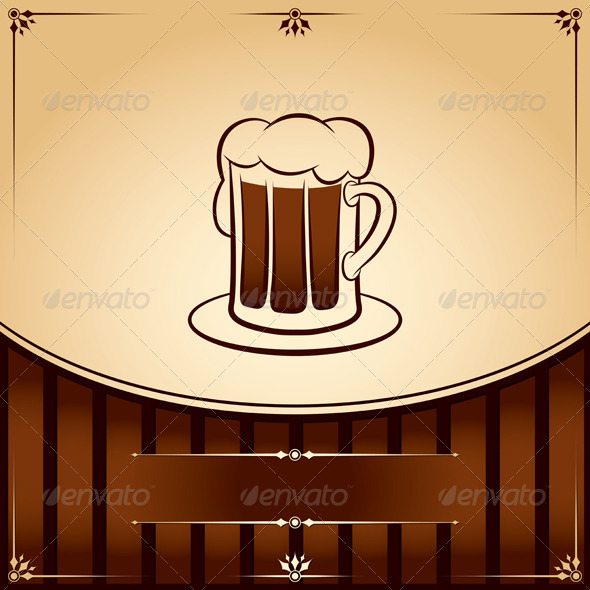 Beer Tankard Graphic with Place for Text - Food Objects