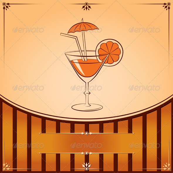Vector Cocktail Glass with Orange - Food Objects