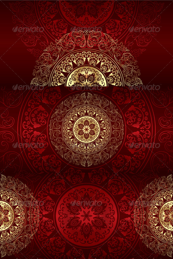 Set of Vintage Floral Backgrounds - Flourishes / Swirls Decorative