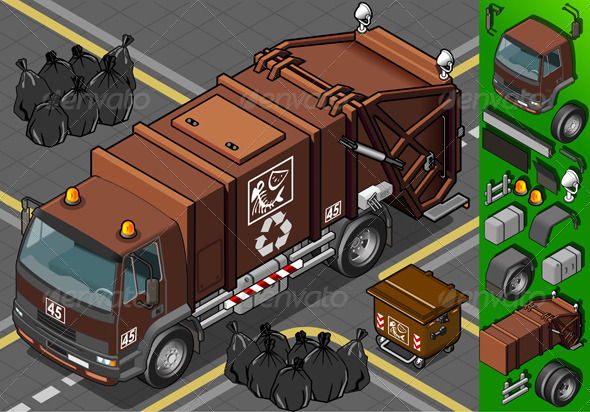 Isometric Humid Waste Garbage Truck - Objects Vectors