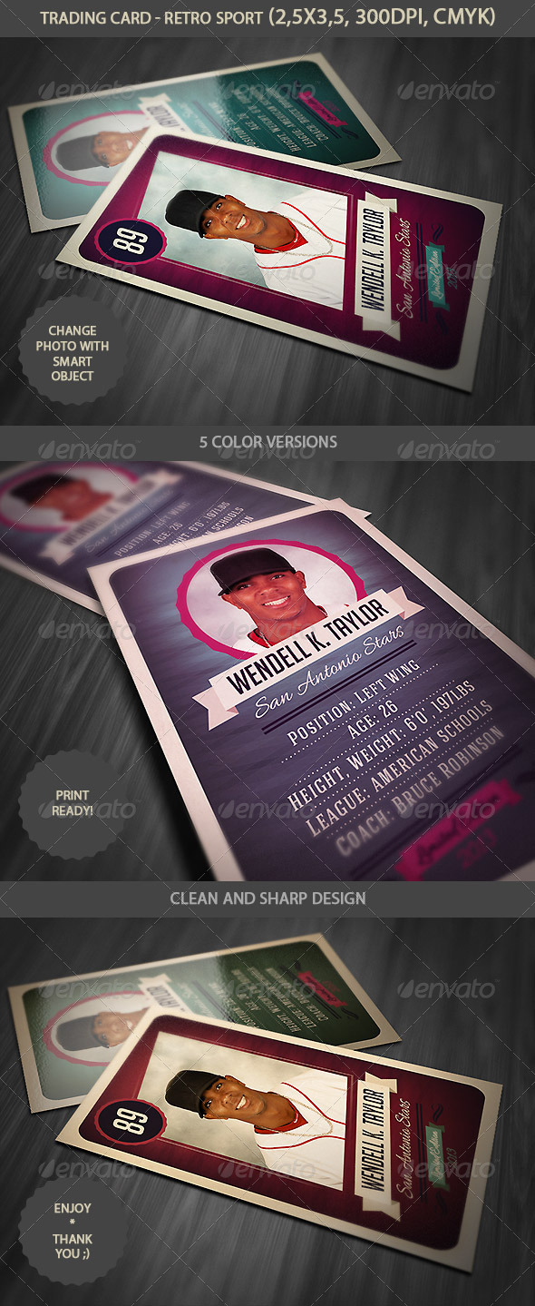 Trading Card Retro Style By Cruzine Graphicriver