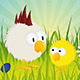 Easter - Chick and Rooster on Green Meadow - GraphicRiver Item for Sale