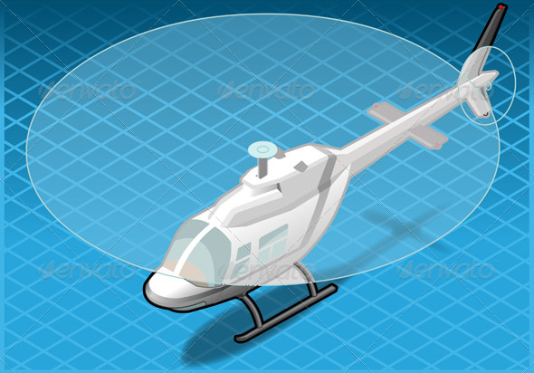 Isometric White Helicopter in Flight in Front View - Objects Vectors