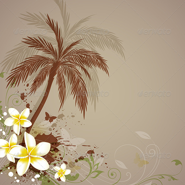 Background with Flowers and Palm - Flowers & Plants Nature