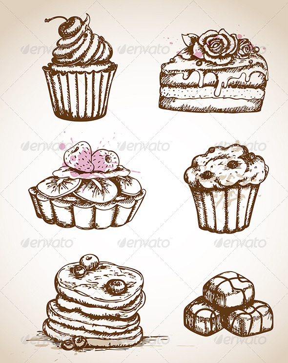 Vintage Hand Drawn Cakes - Food Objects