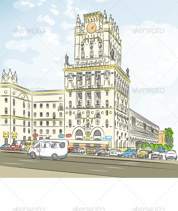 Vector Color Sketch of a City-Center  - Buildings Objects