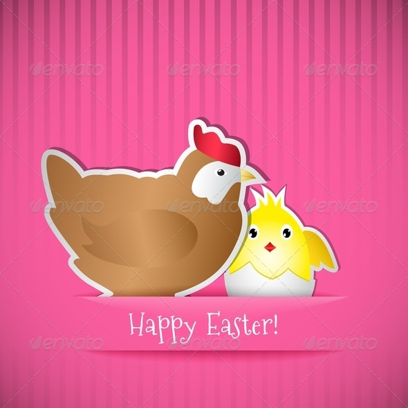 Easter Card With Chicken And Chick - Miscellaneous Seasons/Holidays