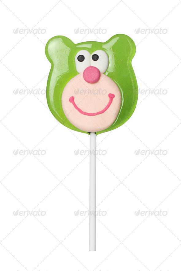 Sweet lollipop of a bear head - Stock Photo - Images
