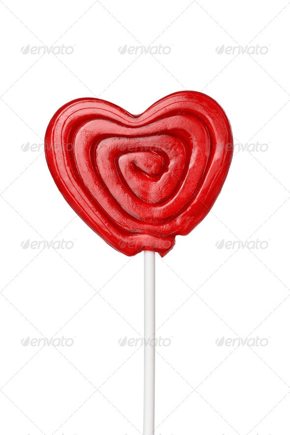 red heart-lollipop isolated on white - Stock Photo - Images