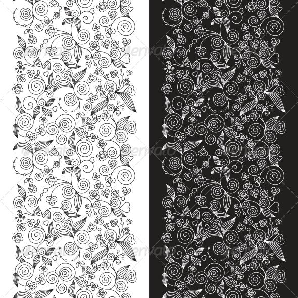 Two Decorative Flower Seamless Patterns - Patterns Decorative