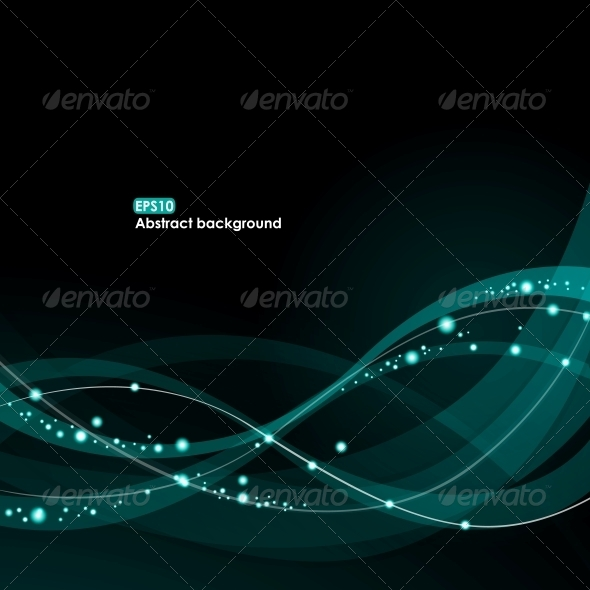 EPS10 Glowing Waves Background - Backgrounds Decorative