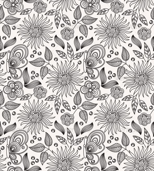 Decorative Flower Seamless Background - Patterns Decorative
