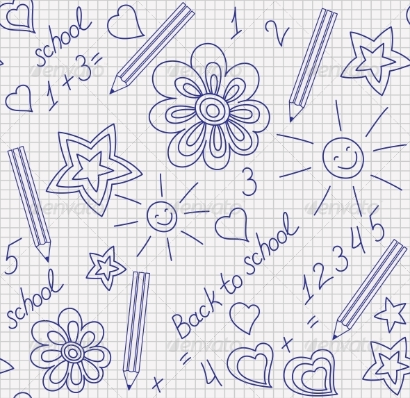 Back to School Hand-Drawn Seamless Pattern - Patterns Decorative