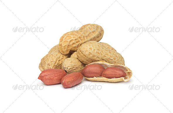 Dried peanuts in closeup - Stock Photo - Images