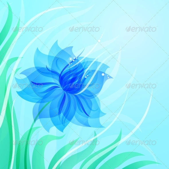 EPS10 Azure Flower Background - Flowers & Plants Nature
