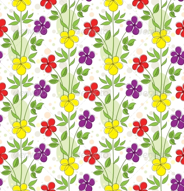 Seamless Background with Decorative Flowers - Patterns Decorative
