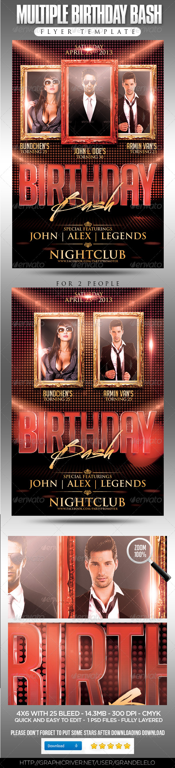 Multiple Birthday Bash Flyer Template - Clubs & Parties Events