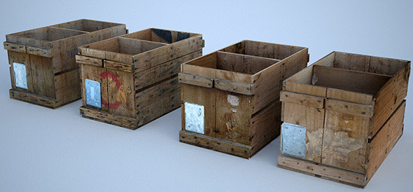 4 Vintage Wooden Crates - 3DOcean Item for Sale