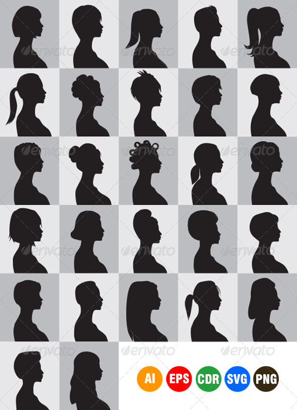 Women Hairstyle Silhouettes - People Characters