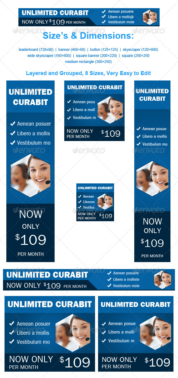 Web Hosting Banner Unlimited Curabit  - Banners & Ads Web Elements