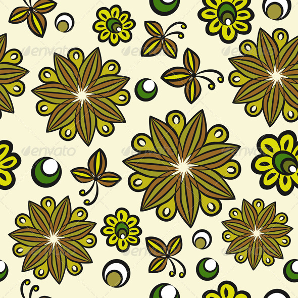 Seamless Floral Hand Drawn Pattern - Patterns Decorative