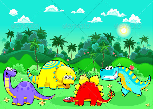 Funny Dinosaurs in the Forest. - Animals Characters