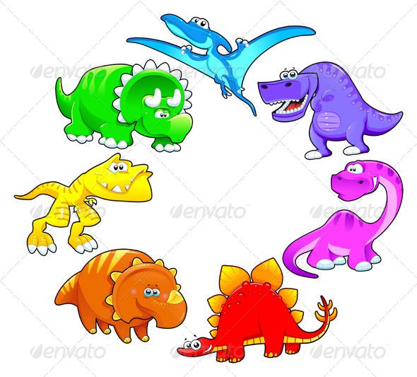 Dinosaurs Rainbow - Animals Characters
