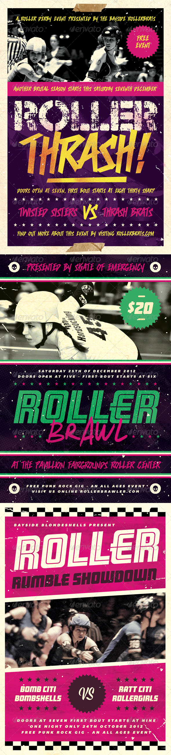 Roller Derby Flyer Bundle - Volume One - Sports Events