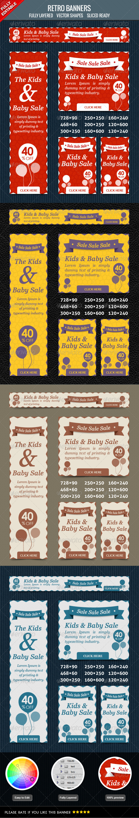 Retro Sales Banner - Banners & Ads Web Elements