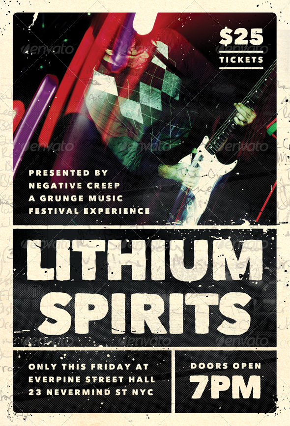 Lithium Spirits - Grunge Flyer Template - Concerts Events