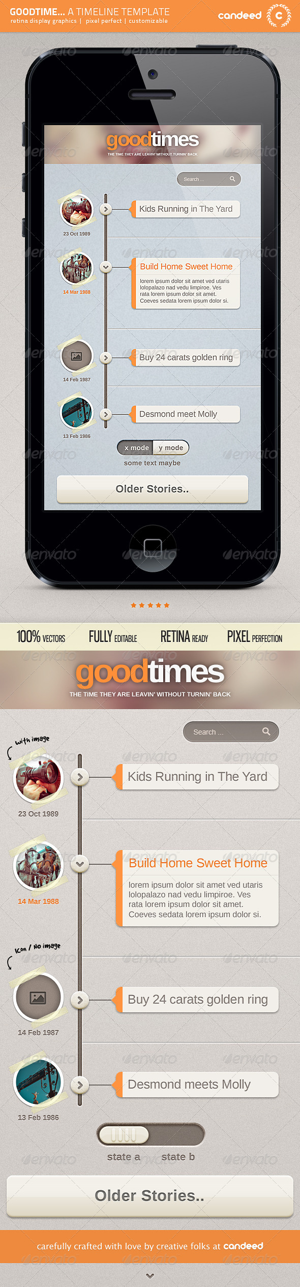 GoodTime - Retina Timeline UI Template - User Interfaces Web Elements
