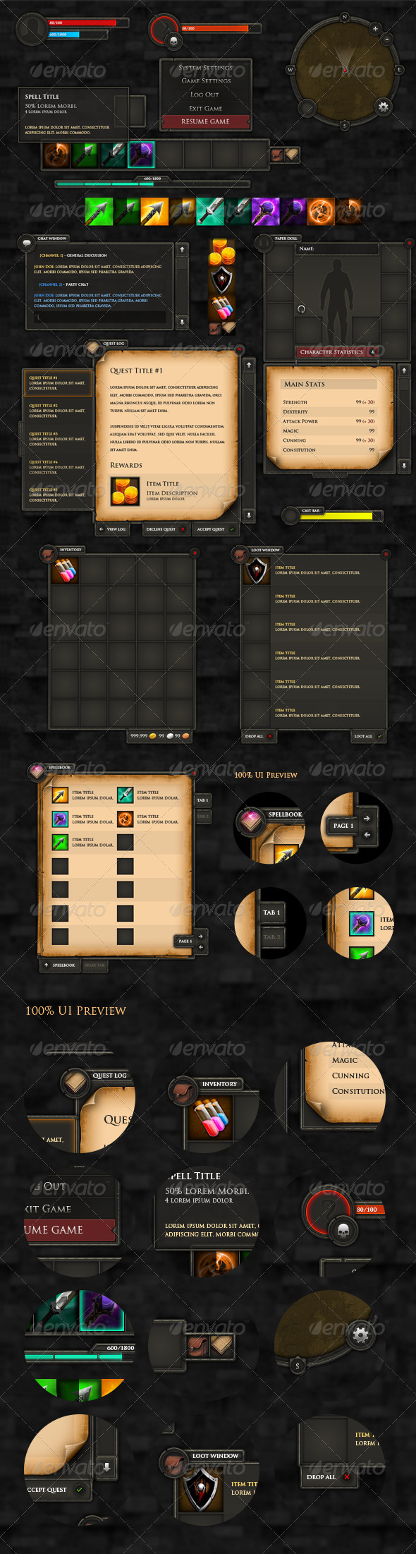 RPG User Interface - User Interfaces Game Assets